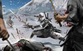 Picture Warrior, Battle, Ninja, Swords, Fiction, Mask