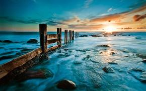 Picture sea, beach, sunrise, stones