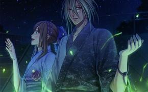 Picture night, smile, fireflies, two, yukata, date, long hair, amnesia, heroine, ukyo, by mai hanamura