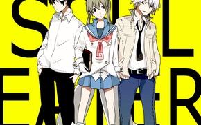 Wallpaper girl, anime, art, book, form, guys, soul eater, maka albarn, students, death the kid, soul ...