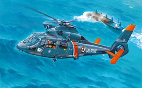 Picture art, helicopter, painting, Dolphin Panther 2 phase EB