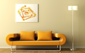 Picture abstraction, sofa, picture, flooring, lamp