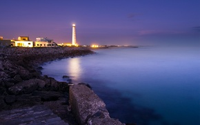 Picture light, blue, stones, the ocean, lilac, shore, lighthouse, Sea, the evening, steps