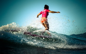 Picture girl, squirt, the ocean, wave, surfing, Board, surfIng