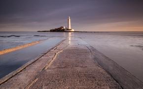 Picture sea, landscape, lighthouse, England, United Kingdom, Whitley Bay