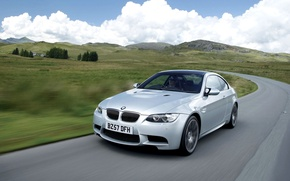 Picture Auto, Road, BMW, Machine, Grey, BMW, The hood, Lights, Coupe, The front