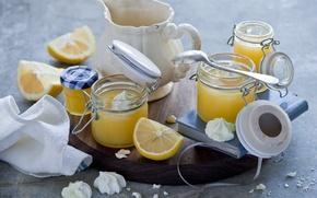 Picture jars, dessert, lemons, meringue, lemon cream
