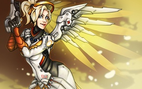 Wallpaper Angela Ziegler, girl, art, overwatch, Dr., Mercy
