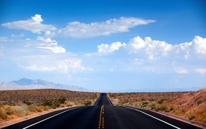 Picture road, clouds, desert, Nevada, USA