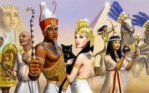 Wallpaper cat, girls, horses, chariot, warrior, art, pyramid, Pharaoh, guys, Egypt, Sphinx, priest