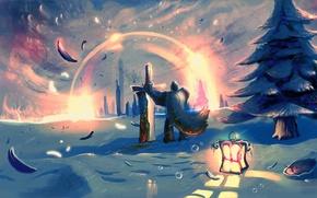 Picture snow, sword, feathers, warrior, art, lantern
