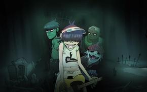 Picture cartoon, Gorillaz, animation, Russell, Noodle, Murdoch, virtual project, Gorilaz