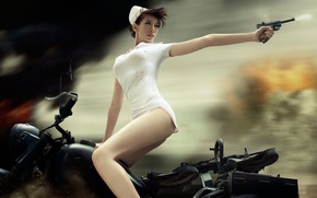 Picture GUN, MOTORCYCLE, The SITUATION, SHOT, war FY, CHASE, JAPANESE, NURSE