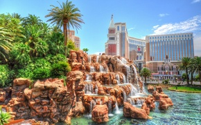 Picture palm trees, hdr, Las Vegas, USA, USA, waterfalls, Nevada, Las Vegas, Nevada, Venetian Hotel