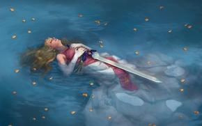 Wallpaper Legend of Zelda, lying. sword, art, girl, water, petals, lake