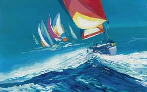 Picture sea, wave, the wind, picture, yacht, sail, regatta, Nicola Simbari, SQUALL