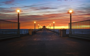 Picture the sky, clouds, sunset, the ocean, coast, the evening, lighting, horizon, lights, CA, pierce, USA