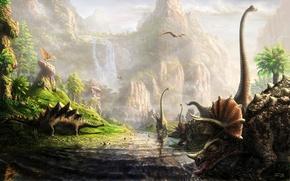 Wallpaper dinosaurs, a lot, the land of dinosaurs, Fel-X