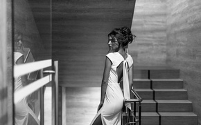 Picture girl, face, reflection, model, portrait, dress, hairstyle, ladder, steps, beautiful, neckline, beauty, nice, inspiration, amazing, …
