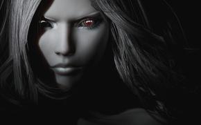 Picture eyes, girl, rendering, hair, black and white, vampire