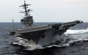 "Picture H.W. Bush, CVN-77, ship, George, USS, turn, wave, the ocean, the carrier, type ""Nimitz"""