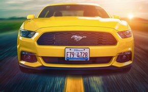 Picture Mustang, Ford, Muscle, Car, Front, Sun, Yellow, Road, 2015, Composite