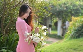Wallpaper flowers, face, the wind, model, hair, dress, Asian