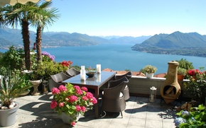 Picture mountains, lake, mood, ideal, stay, view, relax, Italy, terrace, Stresa, Maggiore