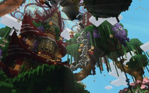 Picture the sky, clouds, trees, tower, blocks, ray, Minecraft
