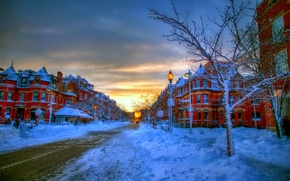 Picture the sky, clouds, snow, decoration, trees, street, home, Winter