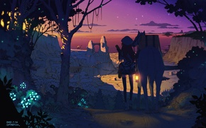 Picture forest, the sky, girl, stars, trees, sunset, nature, the city, lights, hat, horse, plants, anime, …