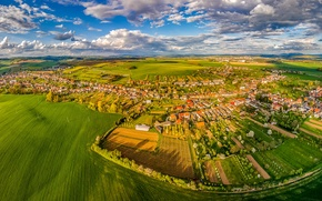 Picture the sky, the sun, clouds, trees, field, home, Czech Republic, panorama, Zlechov