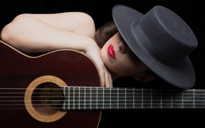 Picture girl, guitar, hat