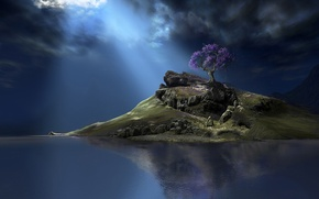 Wallpaper tree, clouds, water, island, the sky, fiction