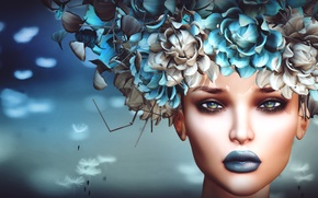Picture look, girl, flowers, face, background, headdress
