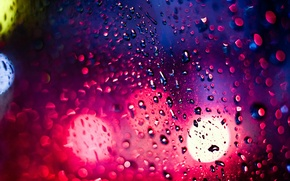 Wallpaper bokeh, light, night, The city, glare, rain