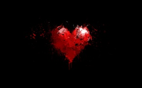 Picture drops, background, red, black, heart, paint, minimalism