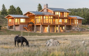 Picture field, nature, house, style, Villa, architecture