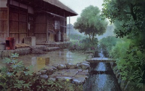 Picture trees, stream, the bridge, veranda, rainy day, the drain, wooden house, only yesterday, yesterday, by …