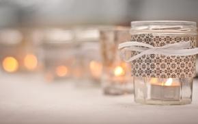 Picture macro, photo, candles, blur, jars, bokeh