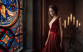 Wallpaper Girl, Red, Kseniya Kokoreva, Look, Beautiful, Candles, Dress