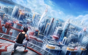 Picture roof, girl, the city, Mirror's Edge, art, faith, Electronic Arts, parkour, DICE, Mirror's Edge: Catalyst