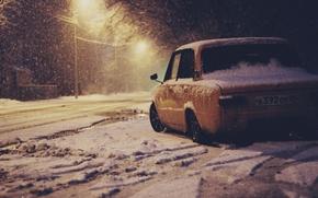 Wallpaper winter, machine, auto, penny, auto, LADA, 2101, VAZ, BPAN
