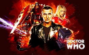 Picture look, girl, actress, actor, male, booth, Doctor Who, Doctor Who, The TARDIS, leather jacket, TARDIS, …