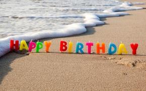 Wallpaper sand, holiday, congratulations, happy, beach, birthday, sea