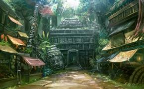 Picture home, head, jungle, temple, market, entrance, street, market, deity, Lu Jian