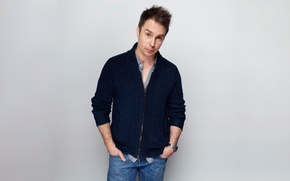 Wallpaper background, jeans, actor, photoshoot, jumper, Sam Rockwell, Sam Rockwell, Victoria Will