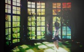 Picture rays, light, back, Windows, plants, Schoolgirl, veranda, sailor