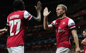 Picture players, football, Arsenal, Lukas Podolski, Lukas Podolski, UEFA Champions league, Gervinho, Gervinho, Arsenal UEFA Champions …