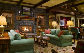 Picture design, table, room, sofa, lamp, interior, fireplace